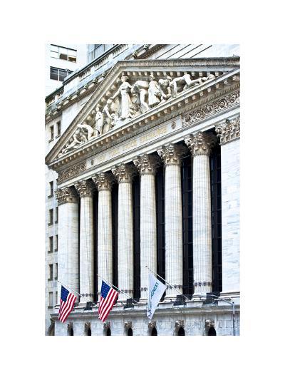 The New York Stock Exchange Building, Wall Street, Manhattan, NYC, White Frame-Philippe Hugonnard-Photographic Print