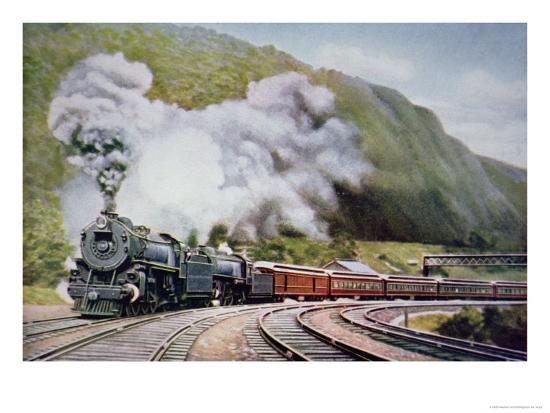The New York to Chicago Express at the Horse-Shoe Curve, Alleghany, c.1930--Giclee Print
