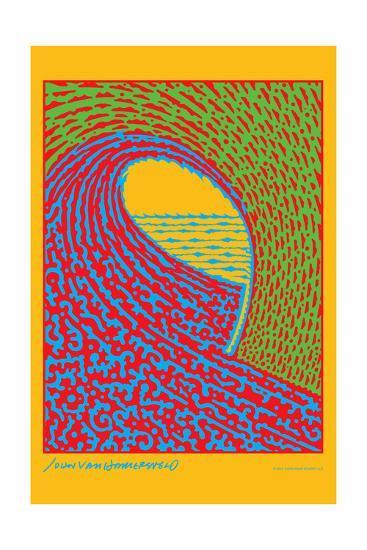 The Next Wave - Green and Blue - John Van Hamersveld Poster Artwork-Lantern Press-Art Print