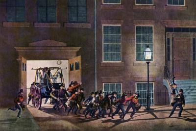 The Night Alarm, the Life of a Fireman, 1854-Nathaniel Currier-Giclee Print