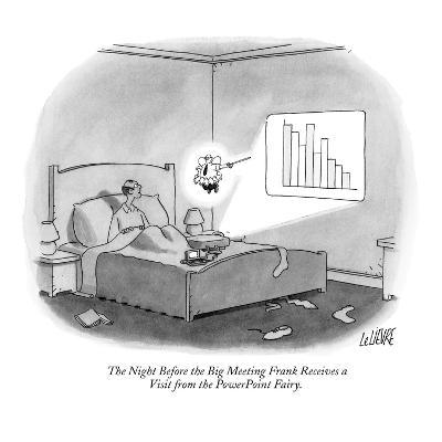 The Night Before the Big Meeting Frank Receives a Visit from the PowerPoin? - New Yorker Cartoon-Glen Le Lievre-Premium Giclee Print