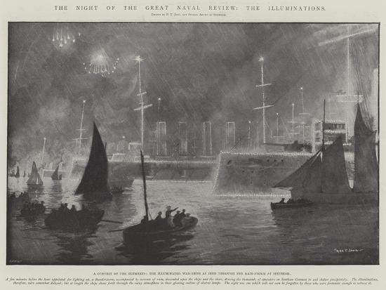 The Night of the Great Naval Review, the Illuminations-Fred T. Jane-Giclee Print