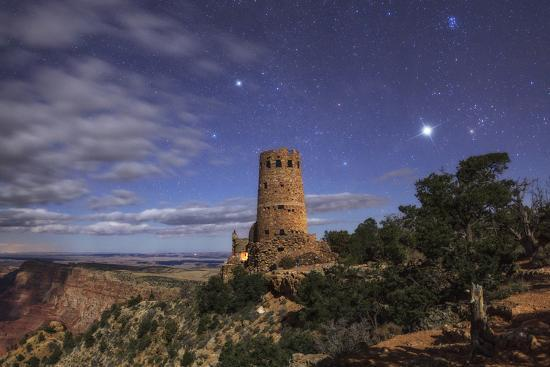The Night Sky Above The Grand Canyon And The Desert View Watchtower