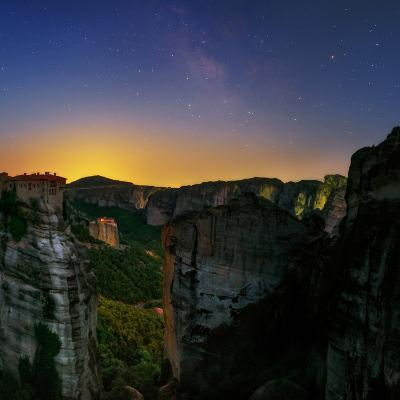 The Night Sky Above the Monasteries at the World Heritage Site of Meteora-Babak Tafreshi-Photographic Print