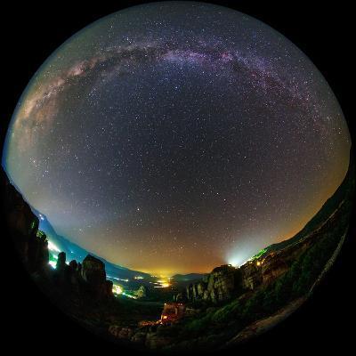 The Night Sky Above the World Heritage Site of Meteora-Babak Tafreshi-Photographic Print