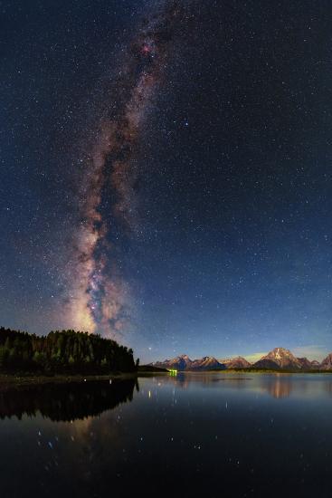 The Night Sky over the Grand Teton National Park and the Jackson Lake Dam-Babak Tafreshi-Photographic Print