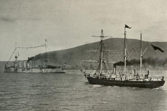 'The Nimrod Passing H.M.S. Powerful,...in Lyttelton Harbour', 1 January 1908, (1909)-Unknown-Photographic Print