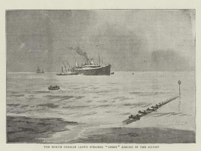 The North German Lloyd Steamer Spree Ashore in the Solent--Giclee Print