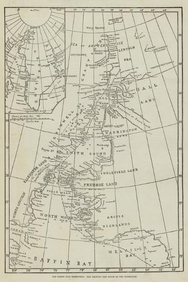 The North Pole Exhibition, Map Showing the Route of the Expedition--Giclee Print