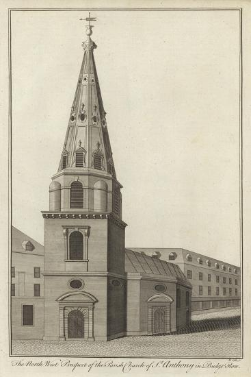 The North West Prospect of the Parish Church of St Anthony in Budge Row, London--Giclee Print