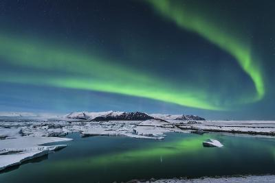 The Northern Lights Dance over the Glacier Lagoon in Iceland--Photographic Print