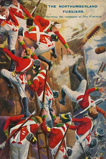 'The Northumberland Fusiliers. Storming the ramparts of San Vincente', 1812, (1939)-Unknown-Giclee Print