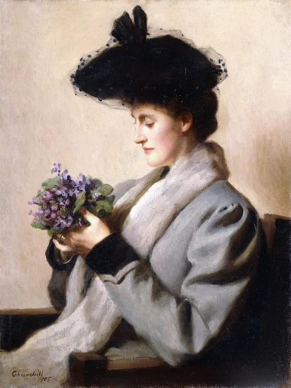 The Nosegay of Violets - Portrait of a Woman, 1905-William Worcester Churchill-Giclee Print