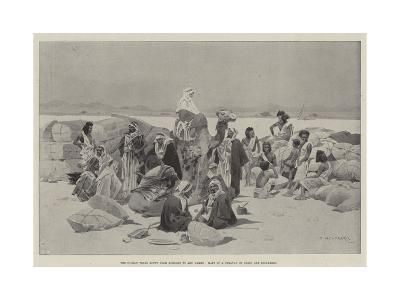 The Nubian Trade Route from Korosko to Abu Hamed, Halt of a Caravan of Arabs and Bishareen-Charles Auguste Loye-Giclee Print