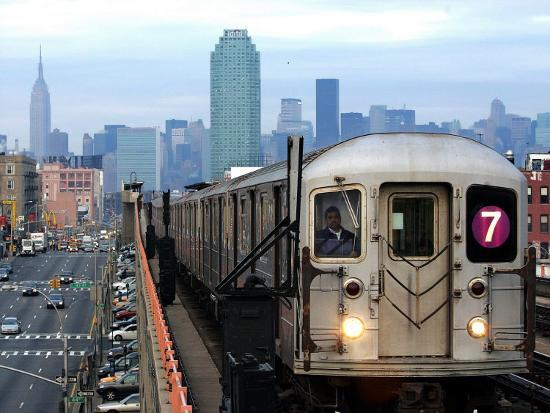 The Number 7 Train Runs Through the Queens Borough of New York--Photographic Print