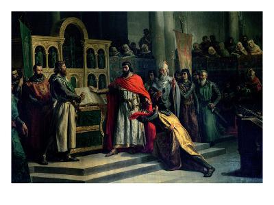 The Oath of Santa Gadea, El Cid Campeador (C.1043-99) Extracts Oath from Alfonso VI (C.1040-1109)-Marcos Hiraldez De Acosta-Giclee Print