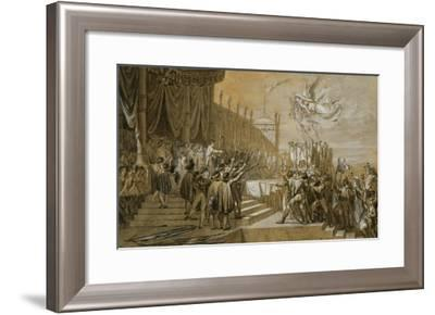 The Oath of the Army after the Distribution of the Eagles on the Champs De Mars-Jacques-Louis David-Framed Giclee Print