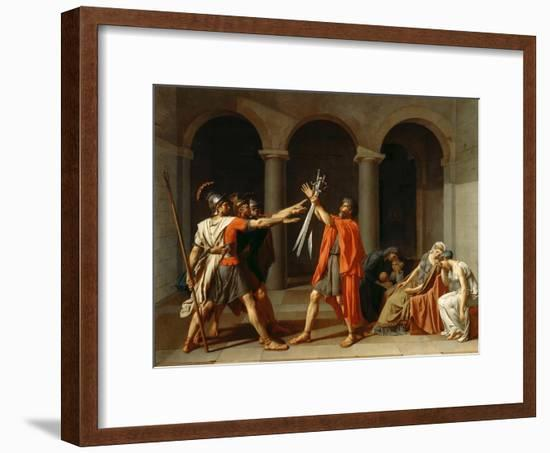 The Oath of the Horatii-Jacques Louis David-Framed Premium Giclee Print