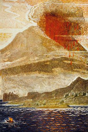 The Odyssey by Homere : Ulysses Apporaching of the Island of the Cyclop (Volcano)