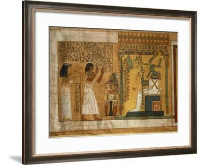The Offer and Worshiping to Osiris Seated on a Throne, Fragment of the Book of the Dead--Framed Giclee Print