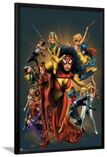 The Official Handbook Of The Marvel Universe: The Women of Marvel 2005 Cover: Spider Woman Charging-Greg Land-Lamina Framed Poster