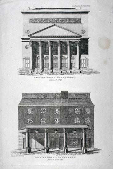 The Old and New Haymarket Theatres, Westminster, London, 1822-Hixon-Giclee Print