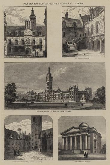 The Old and New University Buildings at Glasgow--Giclee Print