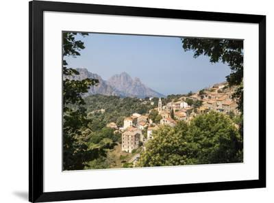 The old citadel of Evisa perched on the hill surrounded by mountains, Southern Corsica, France, Eur-Roberto Moiola-Framed Photographic Print