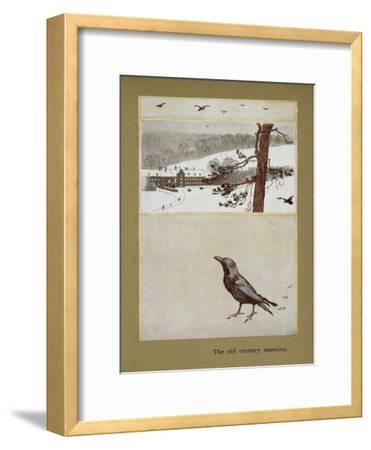 The Old Country Mansion - a Crow With a Large Country House in the Snow-Cecil Aldin-Framed Giclee Print
