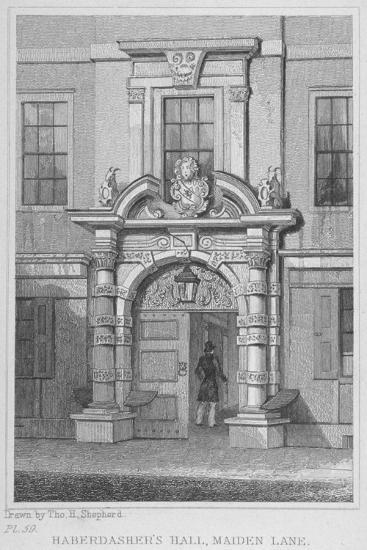 The Old Door of Haberdashers' Hall, City of London, 1830-W Watkins-Giclee Print