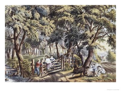 The Old Farm Gate-Currier & Ives-Giclee Print
