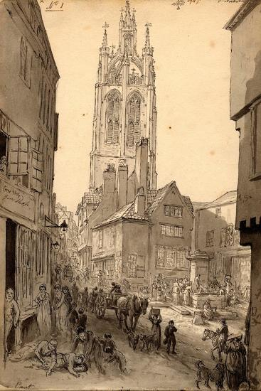 The Old Gin Shop Near St. Nicholas Church, Newcastle, 1805 (Pencil and Ink on Paper)-John Glover-Giclee Print