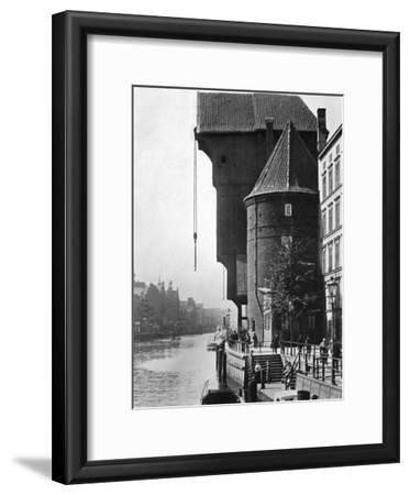 The Old Krantor (Crane Gat) on the River Mottlau, Gdansk, Poland, 1926