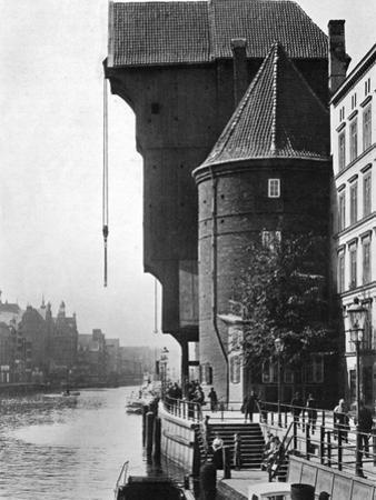 The Old Krantor (Crane Gat) on the River Mottlau, Gdansk, Poland, 1926