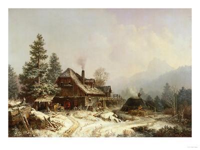 The Old Mill in Winter-Eug?ne Boudin-Giclee Print