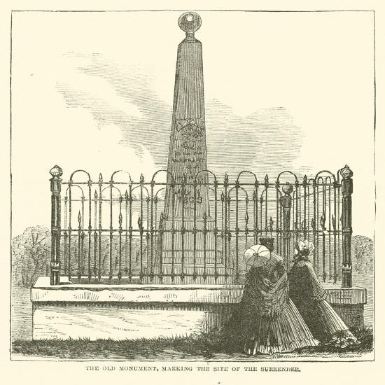 The Old Monument, Marking the Site of the Surrender, July 1863--Giclee Print