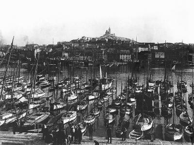 The Old Port and Notre-Dame De La Garde at Marseille, C.1900--Photographic Print