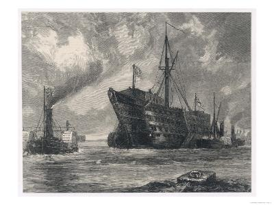 The Old Sailing Ship Towed to Her Last Berth--Giclee Print