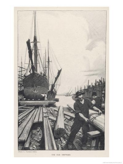 """The Old Shipyard"", a Carpenter Shapes the Timbers of a Sailing Vessel-Thornton Oakley-Giclee Print"