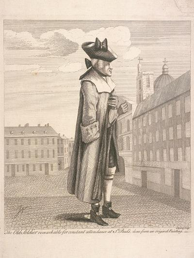 The Old Soldier Remarkable for Constant Attendance at St Paul's, C1760-C Mosely-Giclee Print