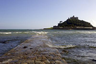 The Old Stone Causeway Leading to St. Michaels Mount Submerged by the Incoming Tide-Simon Montgomery-Photographic Print