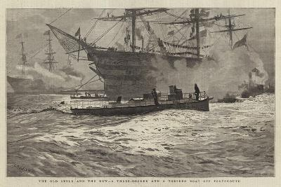 The Old Style and the New, a Three-Decker and a Torpedo Boat Off Portsmouth-William Lionel Wyllie-Giclee Print