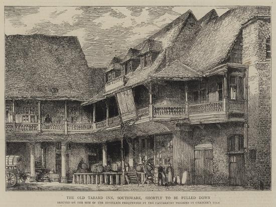 The Old Tabard Inn, Southwark, Shortly to Be Pulled Down-Henry William Brewer-Giclee Print