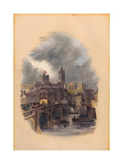 The Old Tyne Bridge, Moot Hall, St Nicholas' Cathedral and Castle (Ink and W/C on Paper)-Mary Jane Hancock-Giclee Print