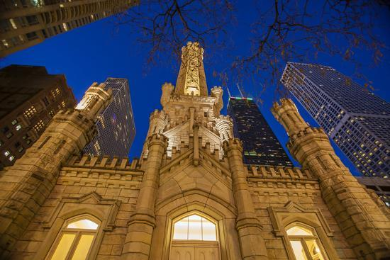 The Old Water Tower and Chicago Skyline in 2013-Richard Nowitz-Photographic Print
