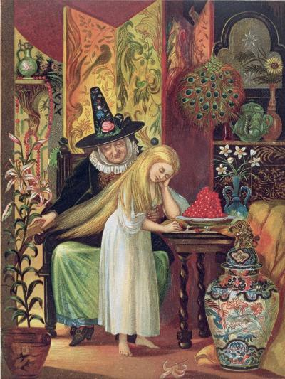 The Old Witch Combing Gerda's Hair in 'The Snow Queen', from Hans Christian Andersen's Fairy Tales-Lorens Frolich-Giclee Print