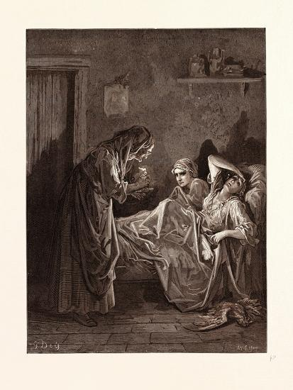 The Old Woman and Her Servants-Gustave Dore-Giclee Print
