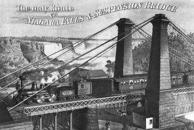 The Only Route to Niagara Falls and Suspension Bridge--Giclee Print