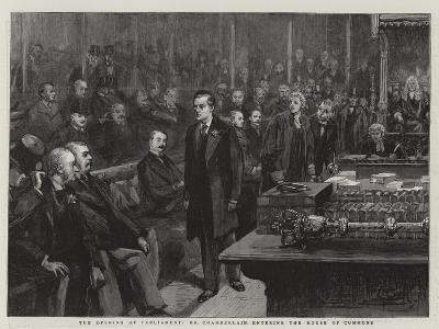 The Opening of Parliament, Mr Chamberlain Entering the House of Commons--Giclee Print