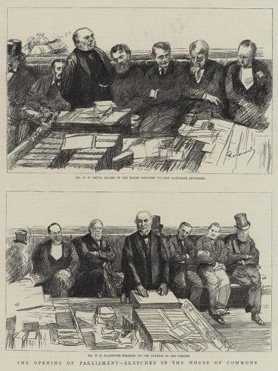 The Opening of Parliament, Sketches in the House of Commons-Charles Paul Renouard-Giclee Print